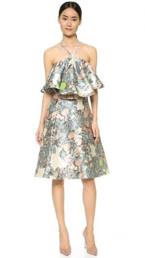 Оборчатое платье с принтом Vika Gazinskaya. Цвет: бежевый/мульти