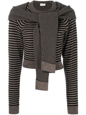 Укороченный свитер с завязкой Isa Arfen. Цвет: коричневый