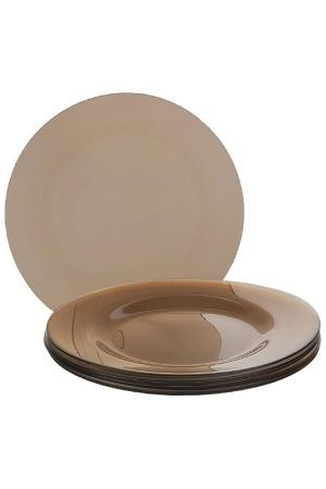 Тарелка, 6 шт Pasabahce. Цвет: коричневый