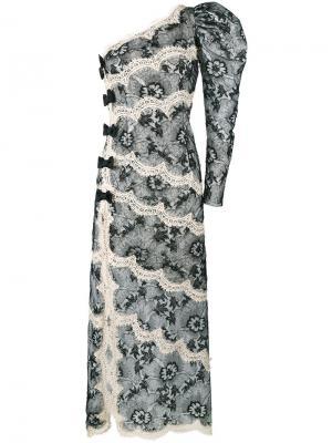 Кружевное платье на одно плечо Alessandra Rich. Цвет: чёрный