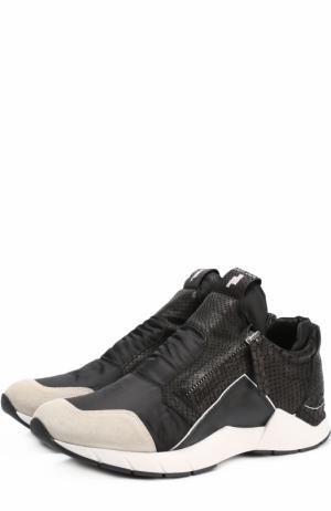 Комбинированные кроссовки с боковыми молниями Cinzia Araia. Цвет: черный