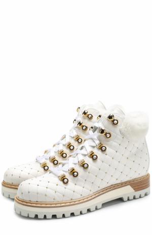 Кожаные стеганые ботинки с заклепками Le Silla. Цвет: белый