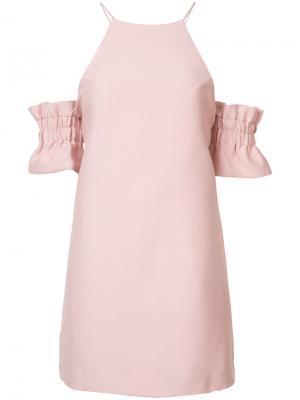 Приталенное платье со сборкой на рукавах C/Meo. Цвет: розовый и фиолетовый