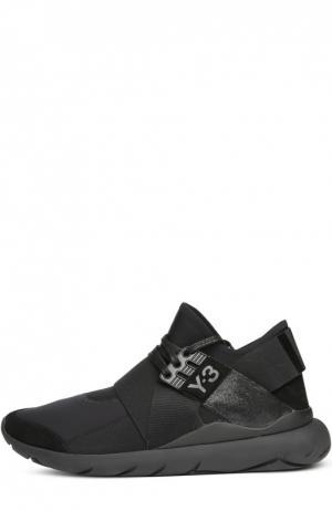 Текстильные кроссовки с кожаной отделкой Y-3. Цвет: черный