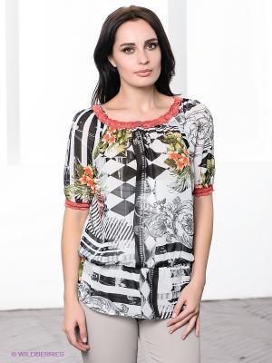 Блузка TOPSANDTOPS. Цвет: серый, оранжевый, белый, зеленый