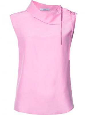Блузка Charmeuse Asymmetric Collared Tome. Цвет: розовый и фиолетовый