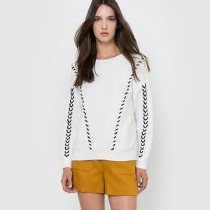Пуловер с круглым вырезом и контрастным рисунком MOLLY BRACKEN. Цвет: экрю