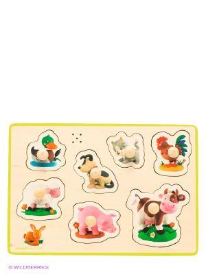Пазл музыкальный Домашние животные, 7 элементов Janod. Цвет: бежевый