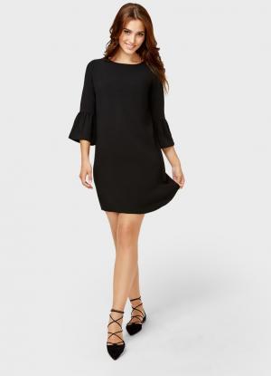 Платье А-силуэта с рукавами-колокольчиками OSTIN. Цвет: черный
