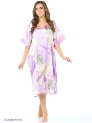 Платье - туника Del Fiore. Цвет: кремовый, сиреневый