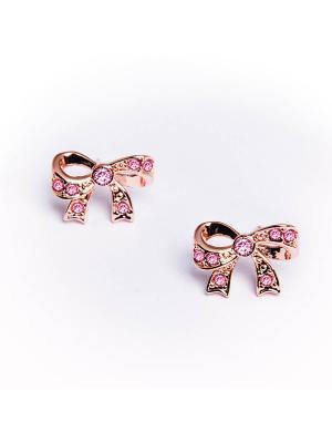 Серьги-бантики Bon-Bon с  розовыми кристаллами Swarovski Mademoiselle Jolie Paris. Цвет: розовый,золотистый