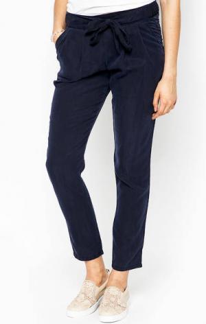 Синие брюки из лиоцелла с лентами на талии LERROS. Цвет: синий