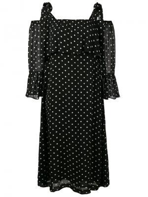 Платье с открытыми плечами в горошек Monette Ganni. Цвет: чёрный