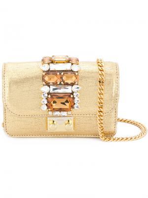 Маленькая сумка через плечо Cliky Gedebe. Цвет: металлический