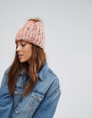 7X Вязаная шапка-бини с помпоном. Цвет: розовый