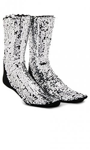 Носки sequins OFF-WHITE. Цвет: металлический серебряный