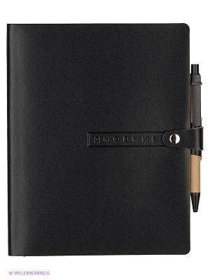 Дневник с хлястиком и ручкой  на кнопке, а5 major (черный) Альт. Цвет: черный