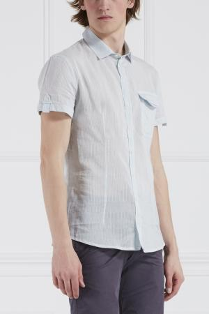 Сорочка из хлопка и шелка Gaetanonavarra. Цвет: голубой