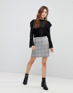 New Look Клетчатая мини-юбка. Цвет: серый