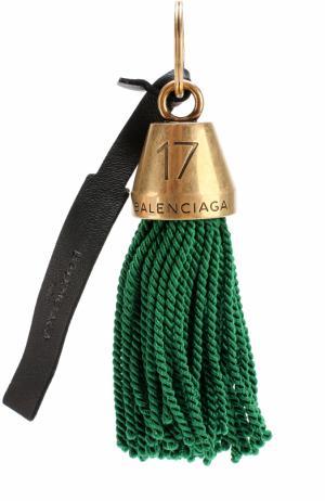Брелок для ключей с бахромой Balenciaga. Цвет: зеленый