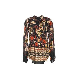 Блузка с воротником-стойкой, рисунком и длинными рукавами RENE DERHY. Цвет: черный наб. рисунок