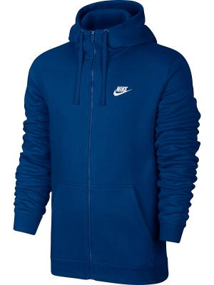 Толстовка M NSW HOODIE FZ FLC CLUB Nike. Цвет: синий, белый
