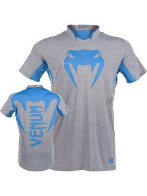 Футболка Venum Hurricane X Fit T-Shirt - Grey/Neo Blue. Цвет: серый, голубой