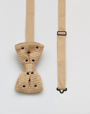 7X Трикотажный галстук-бабочка в горошек. Цвет: рыжий