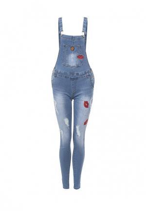 Комбинезон джинсовый By Swan. Цвет: голубой