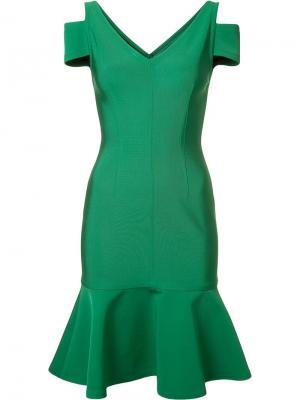 Платье с баской Yigal Azrouel. Цвет: зелёный