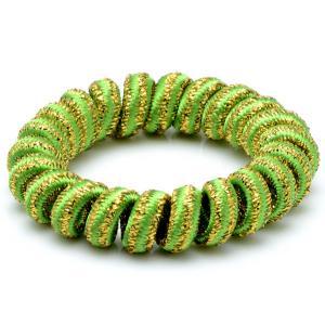 Резинка-Пружинка для волос, арт. РПВ-230 Бусики-Колечки. Цвет: зеленый