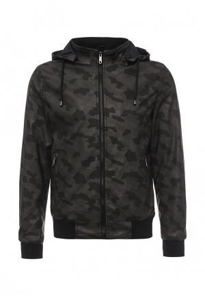Куртка кожаная B.Men. Цвет: хаки