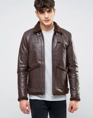 ASOS Коричневая кожаная куртка с подкладкой из искусственного меха. Цвет: коричневый