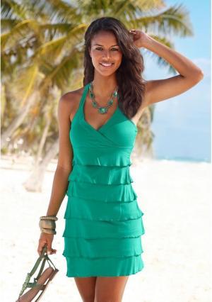 Пляжное платье BEACH TIME. Цвет: зеленый, королевский синий, черный