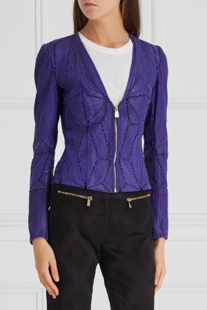 Кожаная куртка с отделкой Versace Collection. Цвет: фиолетовый