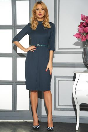 Полуприлегающее платье с брошью Vittoria Vicci. Цвет: темно-синий