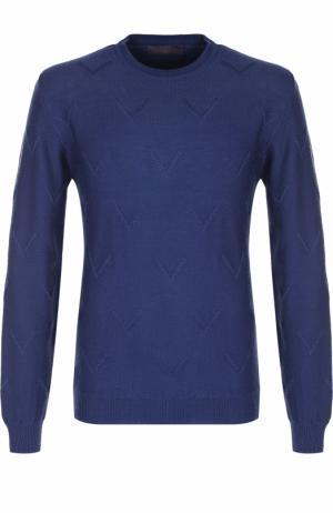 Джемпер из шерсти фактурной вязки Daniele Fiesoli. Цвет: синий