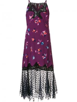 Платье с кружевными вставками Rebecca Taylor. Цвет: розовый и фиолетовый