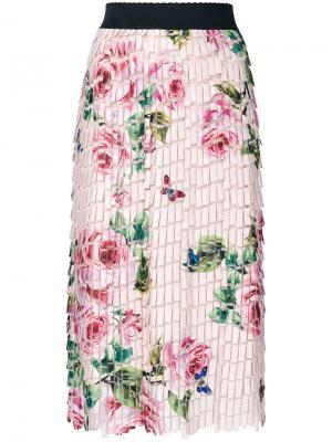 Юбка с цветочным принтом Dolce & Gabbana. Цвет: телесный