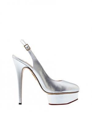 Туфли из металлизированной кожи Dolly Slingback Covered P Charlotte Olympia. Цвет: none