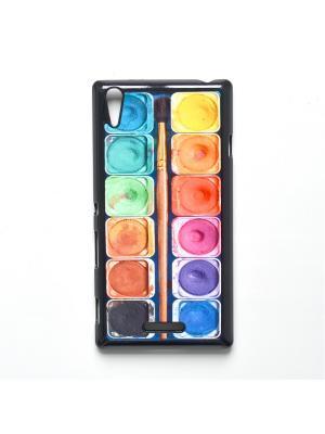 Чехол для Sony Xperia T3 Акварель с кисточкой Boom Case. Цвет: антрацитовый