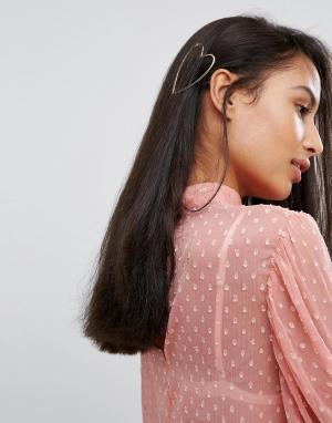 Orelia Заколка для волос в форме сердца. Цвет: золотой