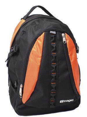 Ранец CAGIA. Цвет: черный, оранжевый