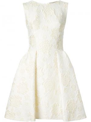 Жаккардовое плиссированное платье Ermanno Scervino. Цвет: жёлтый и оранжевый