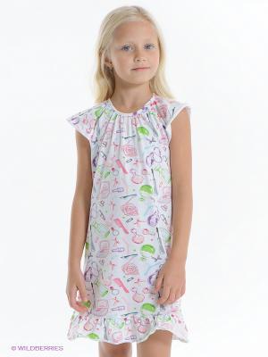 Сорочка PlayToday. Цвет: белый, салатовый, розовый
