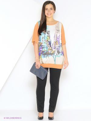 Блузка Yuliya Shehodanova. Цвет: белый, бирюзовый, оранжевый