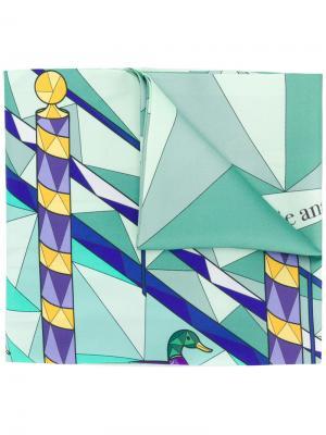 Geometric butterfly print scarf Cha•Val Milano. Цвет: розовый и фиолетовый
