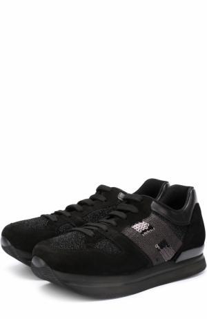 Комбинированные кроссовки с вышивкой пайетками Hogan. Цвет: черный