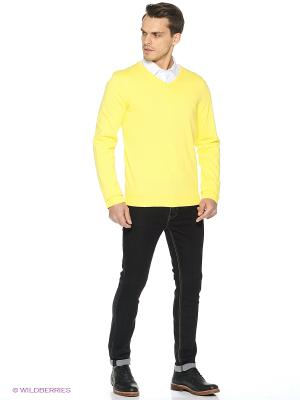 Пуловер Oodji. Цвет: светло-желтый