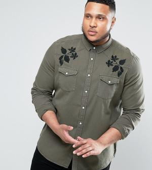 ASOS Джинсовая рубашка в стиле вестерн с вышивкой PLUS. Цвет: зеленый